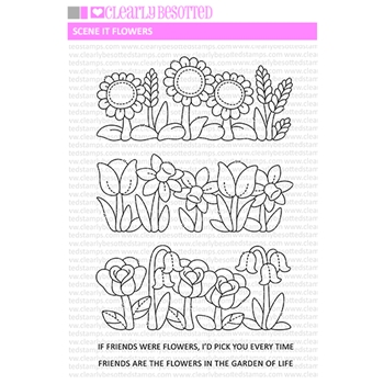 Clearly Besotted SCENE IT FLOWERS Clear Stamps