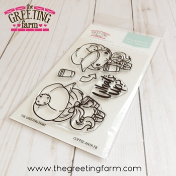 The Greeting Farm COFFEE ANYA Front and Back Clear Stamps tgf543