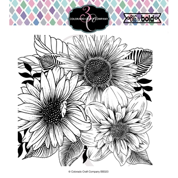 Colorado Craft Company Big and Bold DAISY AND DALHIA Clear Stamps BB320
