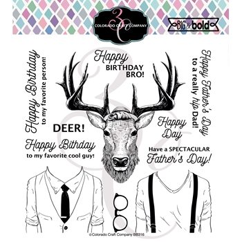Colorado Craft Company Big and Bold HIPSTER DEER Clear Stamps BB316