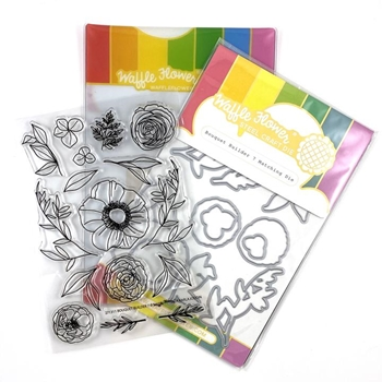 Waffle Flower BOUQUET BUILDER 7 Clear Stamp and Die Combo WFC311