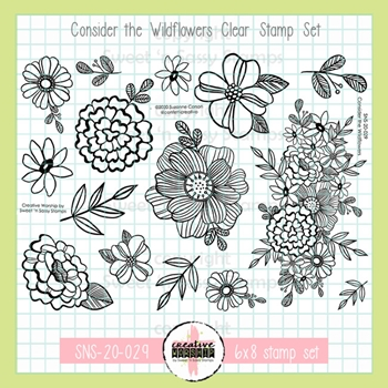 Sweet 'N Sassy CONSIDER THE WILDFLOWERS Clear Stamp Set sns20029
