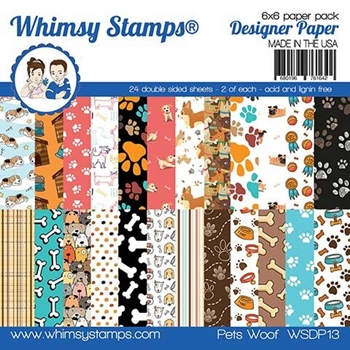 Whimsy Stamps PETS WOOF  6 x 6 Paper Pad WSDP13