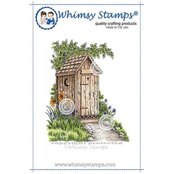 Whimsy Stamps THE OUTHOUSE Rubber Cling Stamp DA1139