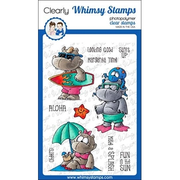 Whimsy Stamps HIPPO BEACH FUN Clear Stamps DP1042