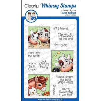 Whimsy Stamps BARNYARD SQUARES Clear Stamps C1357
