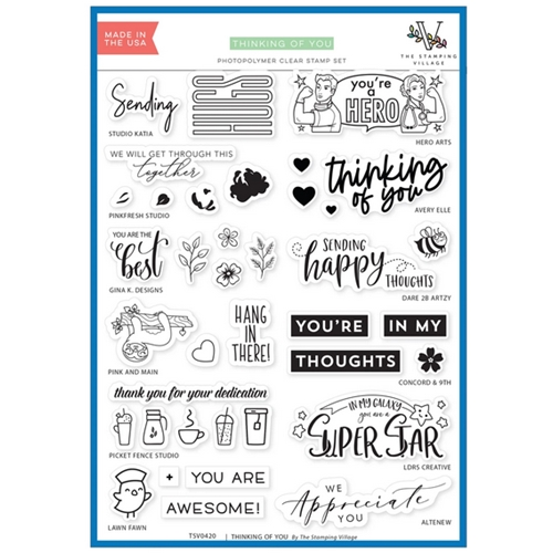 THINKING OF YOU Clear Stamps By The Stamping Village TSV0420 Preview Image