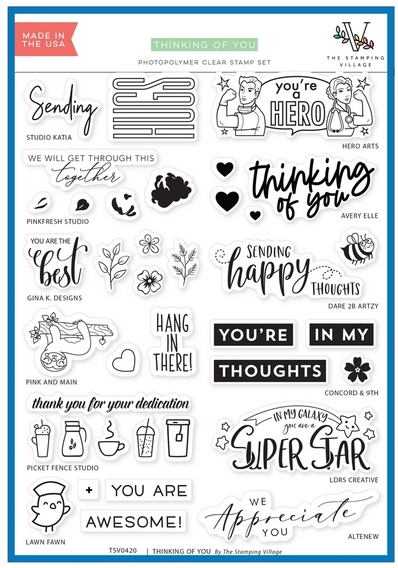 THINKING OF YOU Clear Stamps By The Stamping Village TSV0420 zoom image