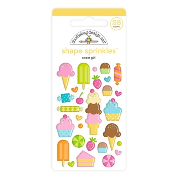 Doodlebug SWEET GIRL Shape Sprinkles Hey Cupcake 6623