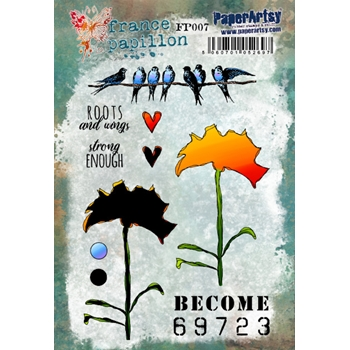 Paper Artsy FRANCE PAPILLON 7 Cling Stamps fp007
