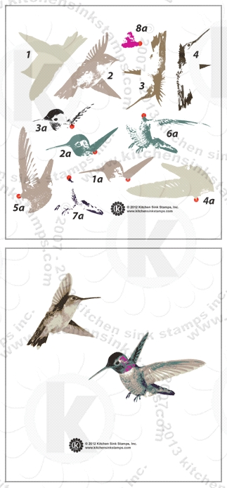 Kitchen Sink Stamps HUMMINGBIRDS kss047 zoom image
