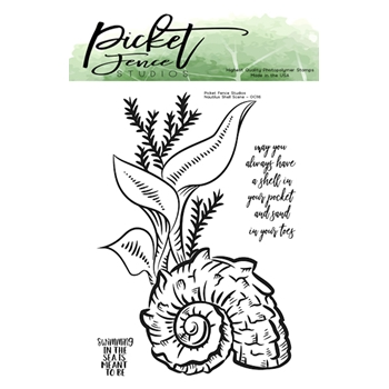 Picket Fence Studios NAUTILUS SHELL SCENE Clear Stamps oc116