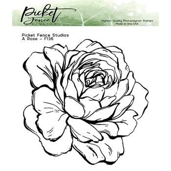Picket Fence Studios A ROSE Clear Stamp f136
