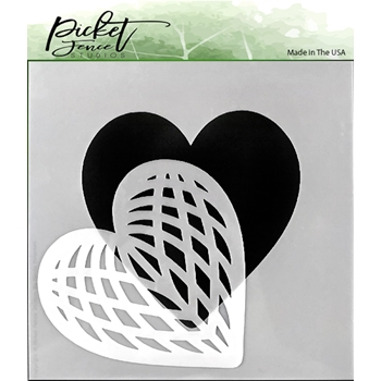 Picket Fence Studios SPLICED HEART 6x6 Stencil sc166