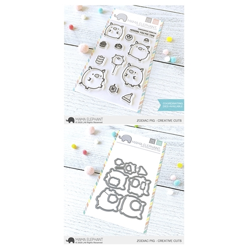 Mama Elephant Clear Stamp and Die MEPT784 Zodiac Pig SET Preview Image