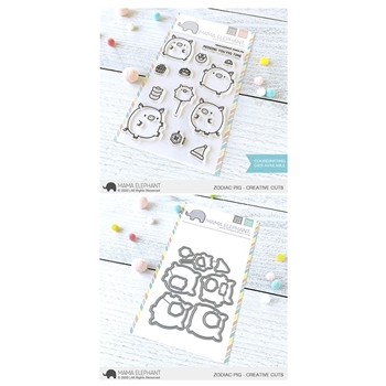 Mama Elephant Clear Stamp and Die MEPT784 Zodiac Pig SET