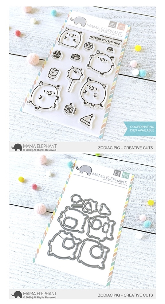Mama Elephant Clear Stamp and Die MEPT784 Zodiac Pig SET zoom image