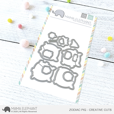 Mama Elephant ZODIAC PIG Creative Cuts Steel Dies Preview Image
