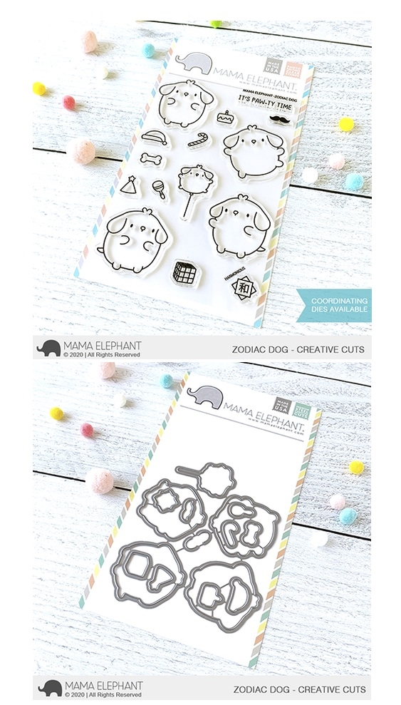 Mama Elephant Clear Stamp and Die MEPT787 Zodiac Dog SET zoom image