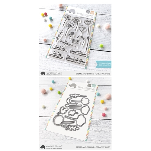 Mama Elephant Clear Stamp and Die MEPT790 Stems and Sprigs SET Preview Image