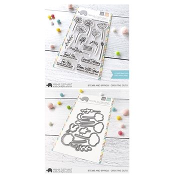 Mama Elephant Clear Stamp and Die MEPT790 Stems and Sprigs SET