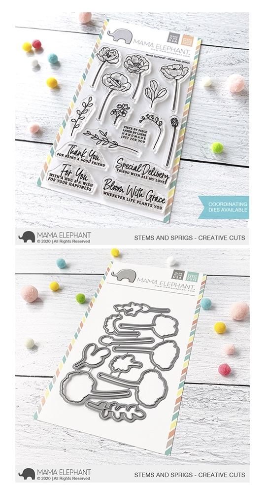 Mama Elephant Clear Stamp and Die MEPT790 Stems and Sprigs SET zoom image