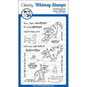 Whimsy Stamps CATTITUDE Clear Stamp Set CWSD310