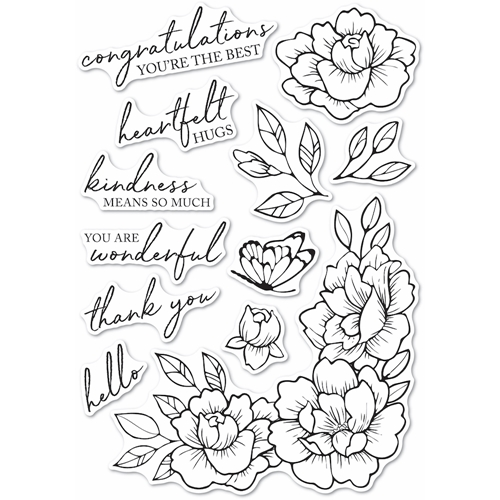 Memory Box Clear Stamps PEONY GARDEN CORNER Open Studio cl5255 Preview Image