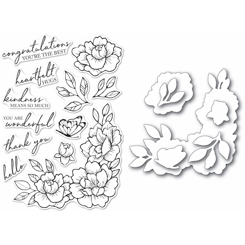Memory Box PEONY GARDEN CORNER Clear Stamp and Die Set Open Studio cl5255d Preview Image