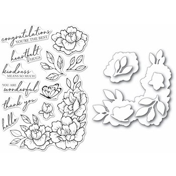 Memory Box PEONY GARDEN CORNER Clear Stamp and Die Set Open Studio cl5255d