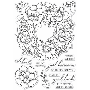 Memory Box Clear Stamps PEONY GARDEN WREATH Open Studio cl5257