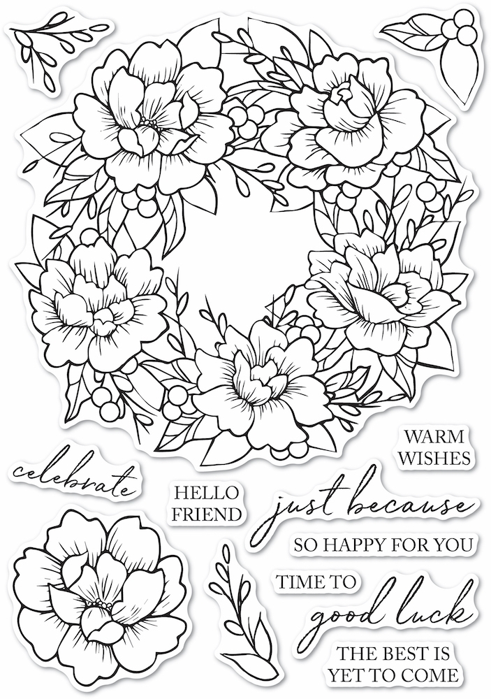 Memory Box Clear Stamps PEONY GARDEN WREATH Open Studio cl5257 zoom image