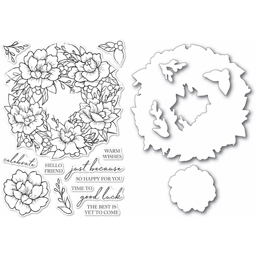 Memory Box PEONY GARDEN WREATH Clear Stamp and Die Set Open Studio cl5257d Preview Image