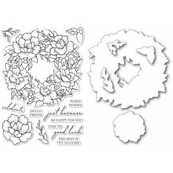 Memory Box PEONY GARDEN WREATH Clear Stamp and Die Set Open Studio cl5257d