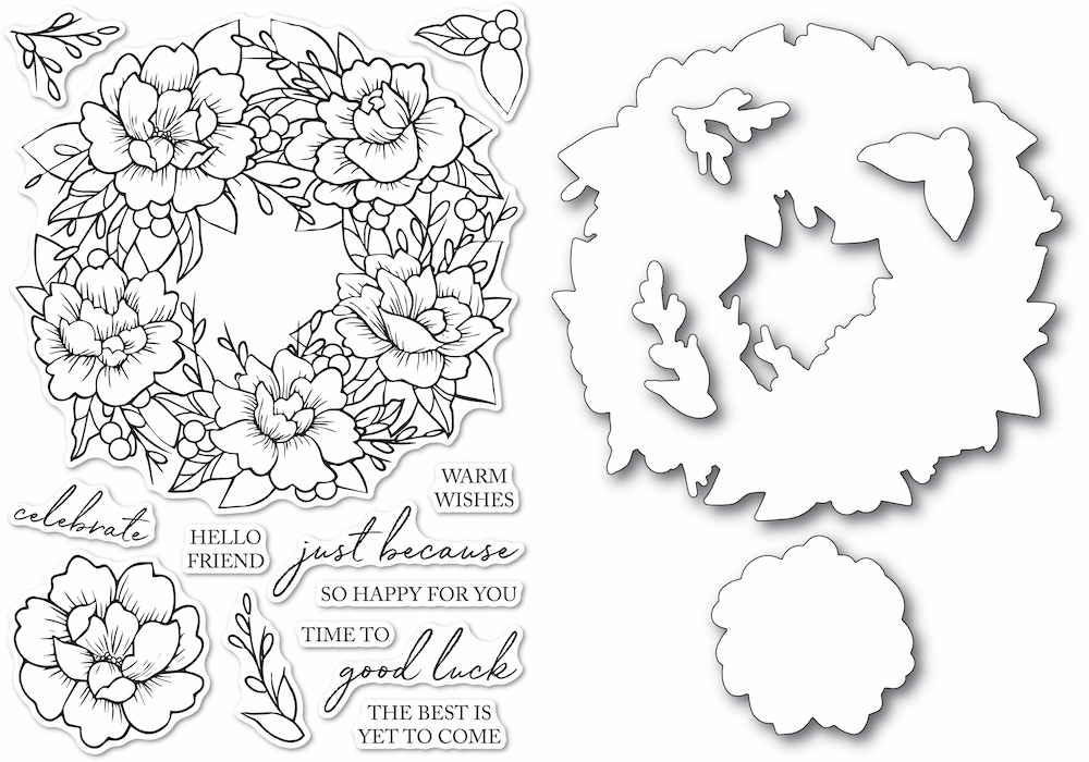 Memory Box PEONY GARDEN WREATH Clear Stamp and Die Set Open Studio cl5257d zoom image