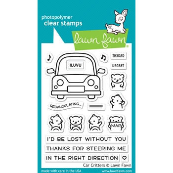RESERVE Lawn Fawn CAR CRITTERS Clear Stamps lf2338