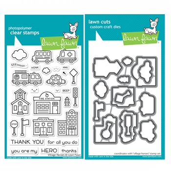 Lawn Fawn SET VILLAGE HEROES Clear Stamps and Dies xlfvh