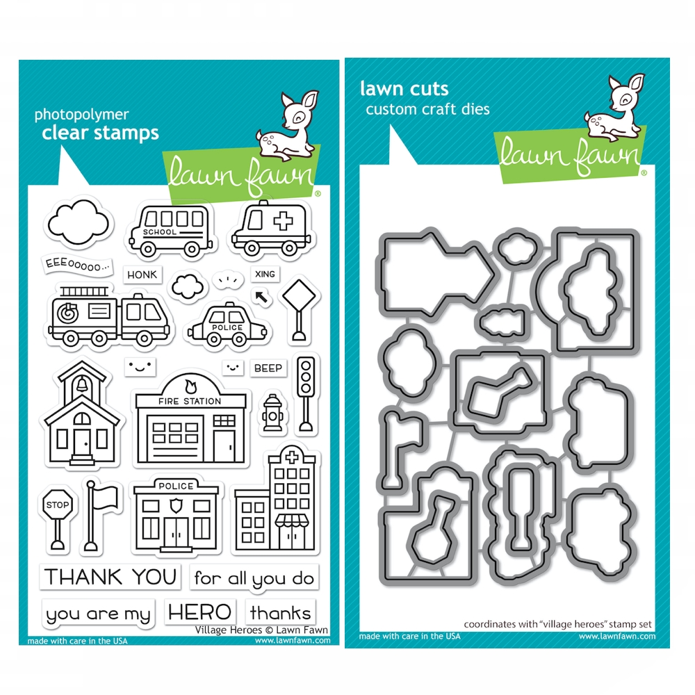 Lawn Fawn SET VILLAGE HEROES Clear Stamps and Dies xlfvh zoom image