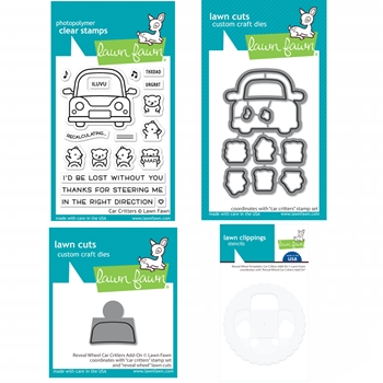 Lawn Fawn SET CAR CRITTERS Clear Stamps Dies and Templates xlfcc