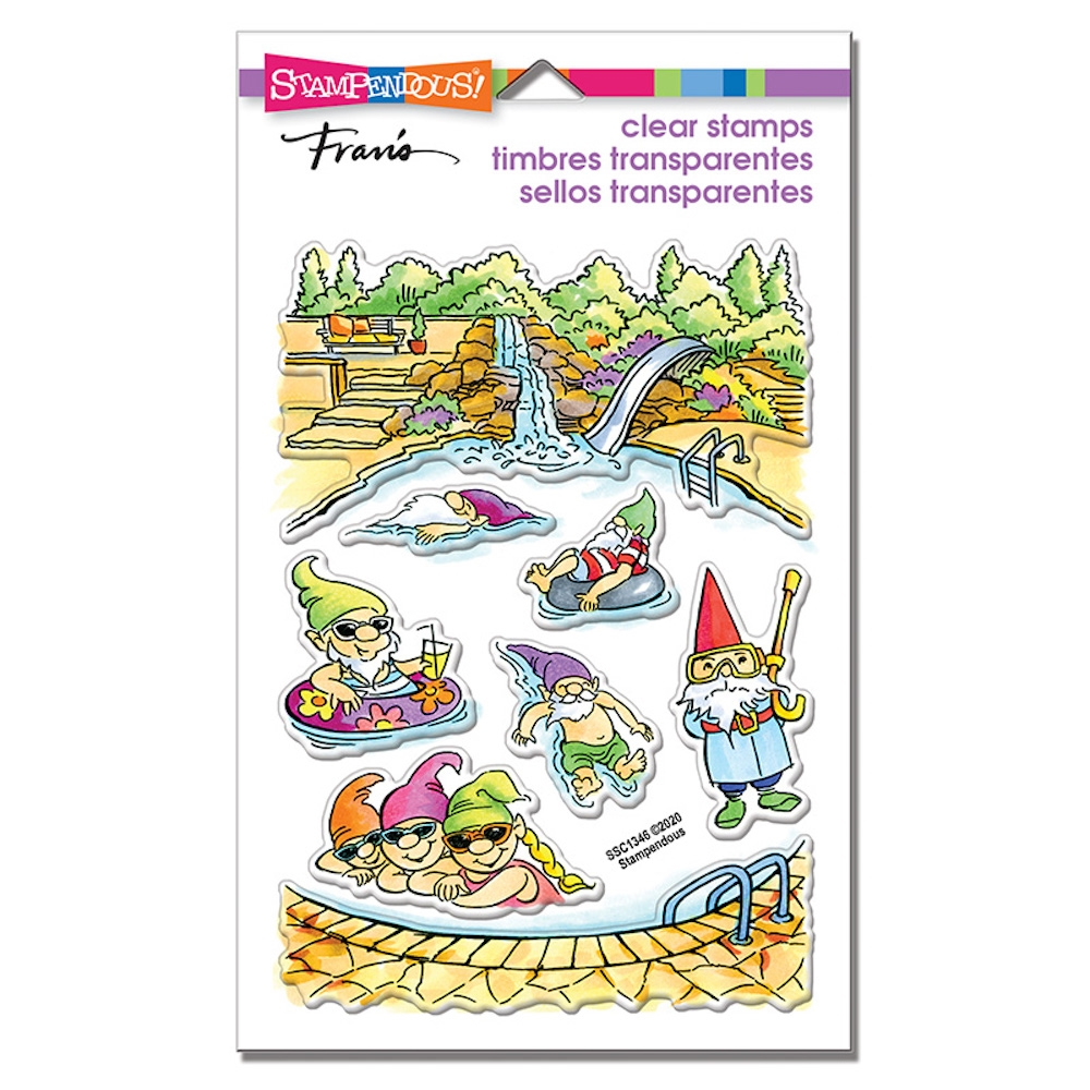Stampendous Clear Stamps GNOME POOL ssc1346 zoom image