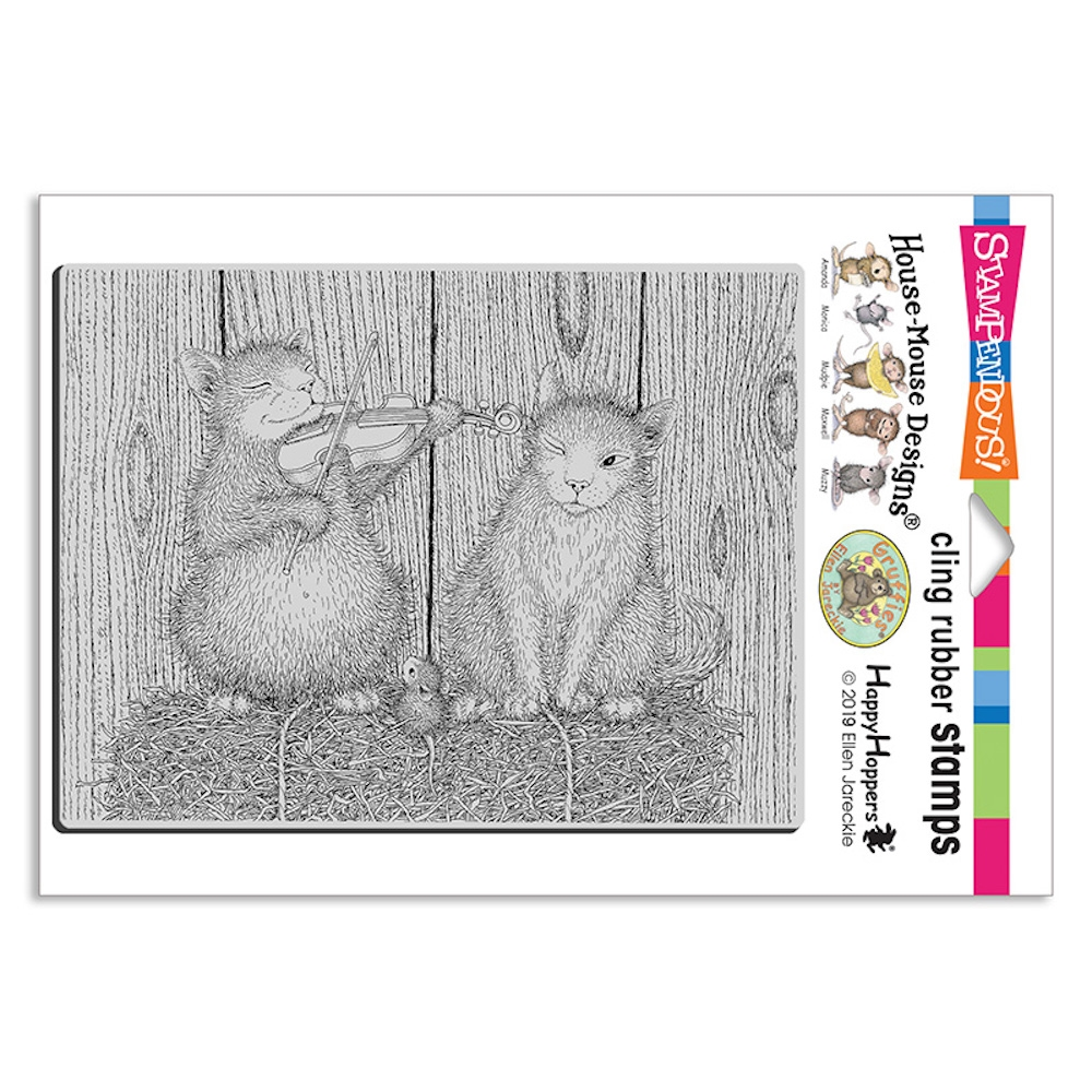 Stampendous, House Mouse Cat and the Fiddle Cling Stamp