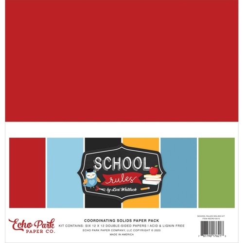Echo Park SCHOOL RULES 12 x 12 Solids Paper Pack scr215015 Preview Image