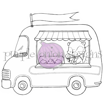 Purple Onion Designs ICE CREAM TRUCK Cling Stamp pod1183
