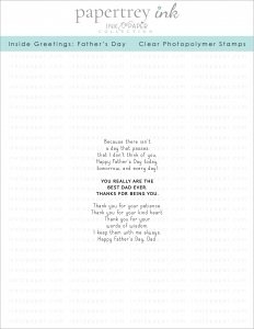 Papertrey Ink INSIDE GREETINGS FATHER'S DAY Clear Stamps 1168*