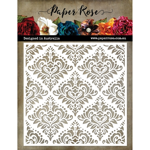 Paper Rose DAMASK 6x6 Stencil 18876 Preview Image