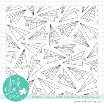 Ink Blot Shop Clear Stamp Set PAPER AIRPLANE BACKGROUND inbl095