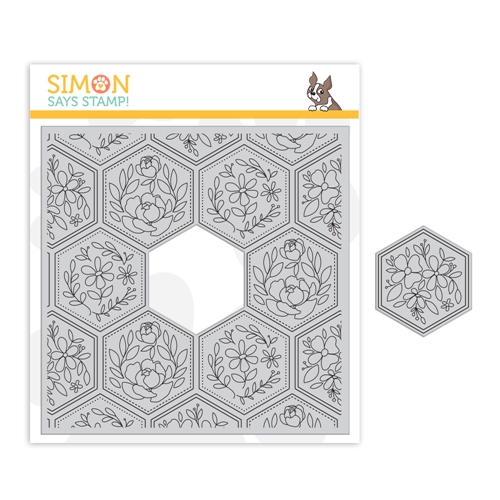 Simon Says Cling Stamp CENTER CUT HEXAGON FLORAL sss102097 Crafty Hugs Preview Image