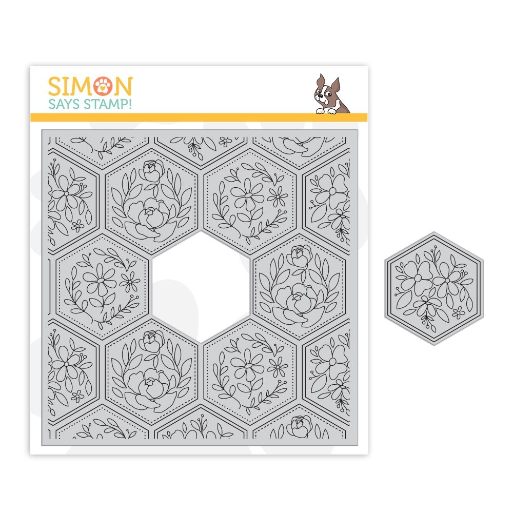 Simon Says Cling Stamp CENTER CUT HEXAGON FLORAL sss102097 Crafty Hugs zoom image