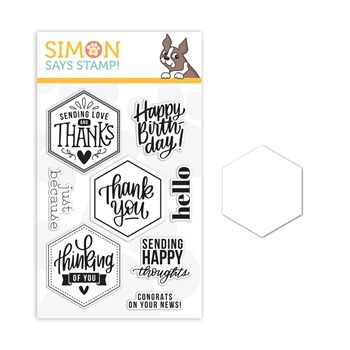 RESERVE Simon Says Stamps and Dies HEXAGON GREETINGS set389hg Crafty Hugs