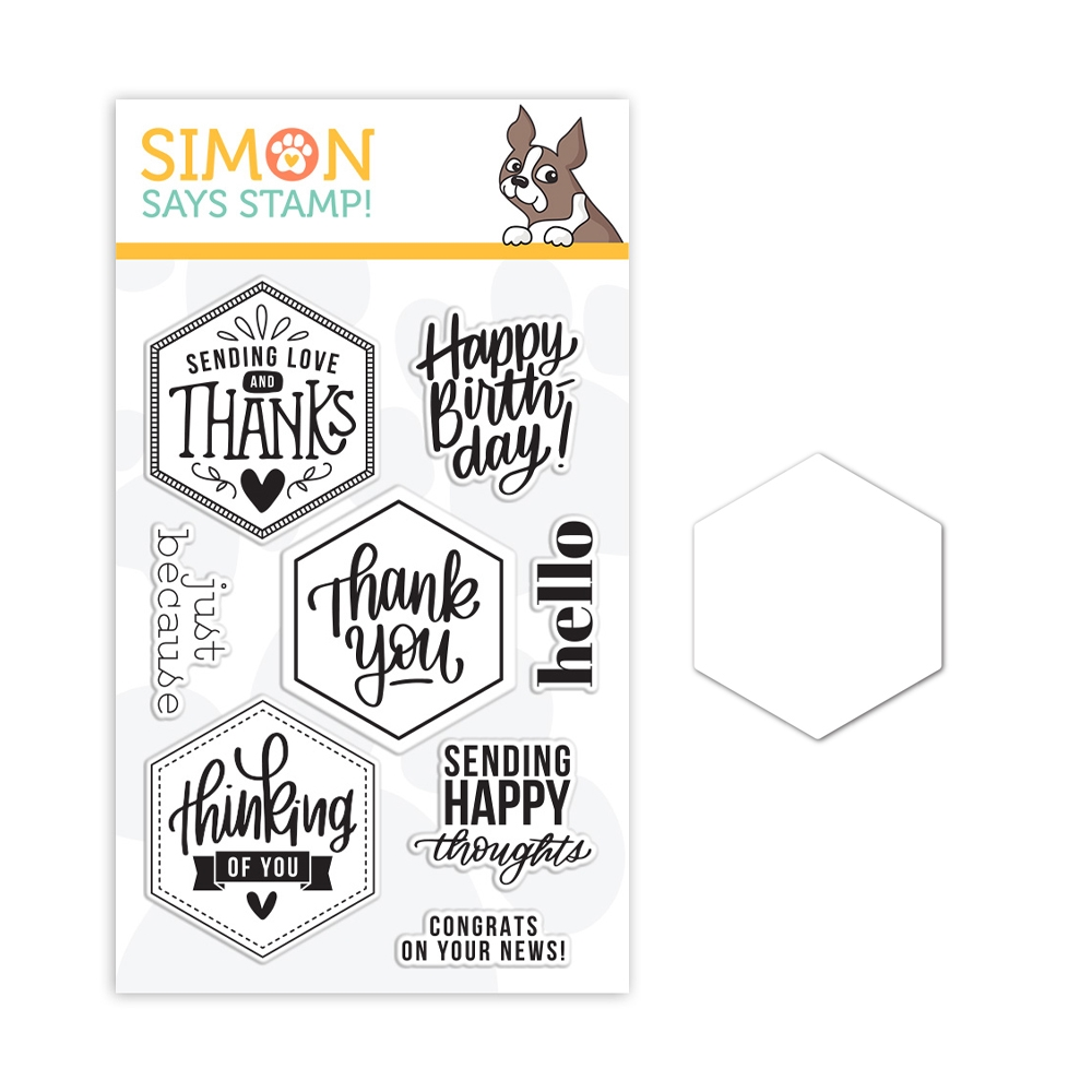 Simon Says Stamps and Dies HEXAGON GREETINGS set389hg Crafty Hugs zoom image